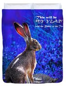 Year Of The Rabbit 2011 . Square Blue Duvet Cover
