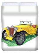 Yellow 1949 M G T C Midget Duvet Cover