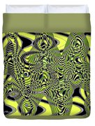 Yellow And Black #3 Abstract Duvet Cover