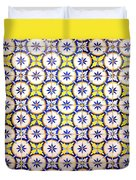 Yellow And Blue Circle Tile Duvet Cover