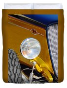 Yellow And Blue Hot Rod Headlight Duvet Cover
