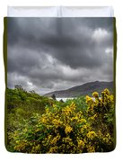 Yellow Flowers And Grey Clouds, Stormy Weather Over Sea In Scotland. Duvet Cover