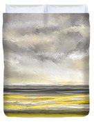 Yellow And Gray Seascape Art Duvet Cover