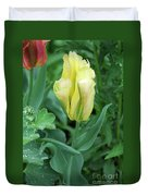 Yellow And Green Striped Tulip Flower Bud Duvet Cover