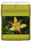 Yellow And Marron Flowering Lily In A Garden Duvet Cover