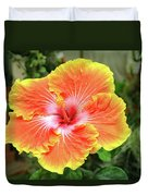 Yellow And Orange Hibiscus 2 Duvet Cover