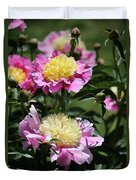 Yellow And Pink Peony Duvet Cover