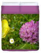 Yellow And Purple Flowers Duvet Cover