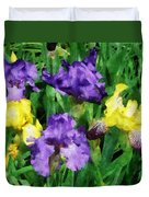 Yellow And Purple Irises Duvet Cover