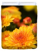 Yellow And Red Autumn Mums Closeup I Duvet Cover
