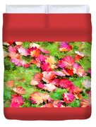 Yellow And Red Fall Maple Leaves Duvet Cover