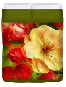 Yellow And Red Floral Delight Duvet Cover