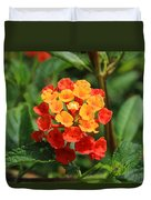 Yellow And Red Flowers On A Branch Duvet Cover