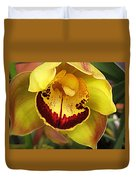 Yellow And Russet Orchid Duvet Cover