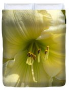 Yellow And White Daylily Duvet Cover