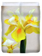 Yellow And White Iris Textured Duvet Cover