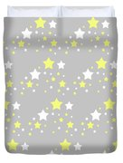 Yellow And White Stars On Grey Gray  Duvet Cover