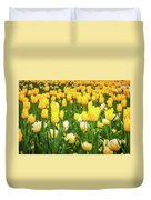 Yellow And White Tulips In Canberra In Spring Duvet Cover