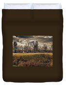 Yellow Barn And The Field Duvet Cover