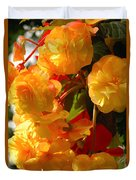 Yellow Begonia Flowers.  Victoria Duvet Cover