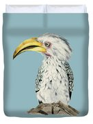Yellow-billed Hornbill Watercolor Painting Duvet Cover