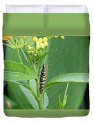 Yellow Black  White Caterpillar Duvet Cover