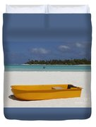 Yellow Boat In South Pacific Duvet Cover