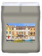 Yellow Boat - Venice Italy Duvet Cover