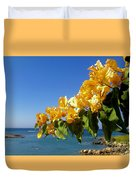 Yellow Bougainvillea Over The Mediterranean On The Island Of Cyprus Duvet Cover