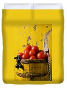 Yellow Bucket With Tomatoes Duvet Cover