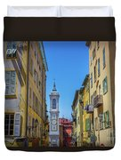 Yellow Buildings And Chapel In Old Town Nice, France - Landscape Duvet Cover