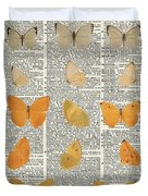 Yellow Butterflies Over Dictionary Book Page Duvet Cover