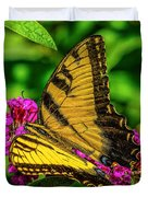 Yellow Butterfly In The Garden Duvet Cover