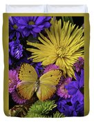 Yellow Butterfly On Bouquet Duvet Cover
