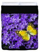 Yellow Butterfly On Mee Duvet Cover