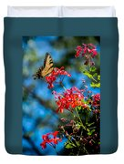 Yellow Butterfly On Red Flowers Duvet Cover