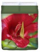 Yellow Butterfly On Red Hibiscus Duvet Cover