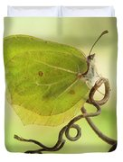 Yellow Butterfly On The Branch Duvet Cover