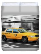 Yellow Cab In Manhattan In A Rainy Day. Duvet Cover