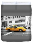 Yellow Cab In Manhattan With Black And White Background Duvet Cover