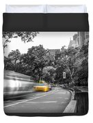 Yellow Cabs In Central Park, New York 3 Duvet Cover