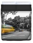 Yellow Cabs In Central Park, New York 4 Duvet Cover