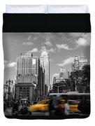 Yellow Cabs In Midtown Manhattan, New York Duvet Cover