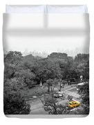 Yellow Cabs Near Central Park, New York Duvet Cover