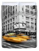 Yellow Cabs Near Macy's Department Store, New York Duvet Cover