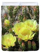 Yellow Cactus Blooms Duvet Cover