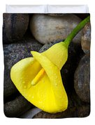 Yellow Calla Lily On Rocks Duvet Cover