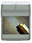 Yellow Car On The Stone Pavement Duvet Cover