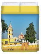 Yellow Church In Cholula, Mexico Duvet Cover