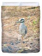 Yellow Crowned Night Heron Along The Tidal Creek Duvet Cover